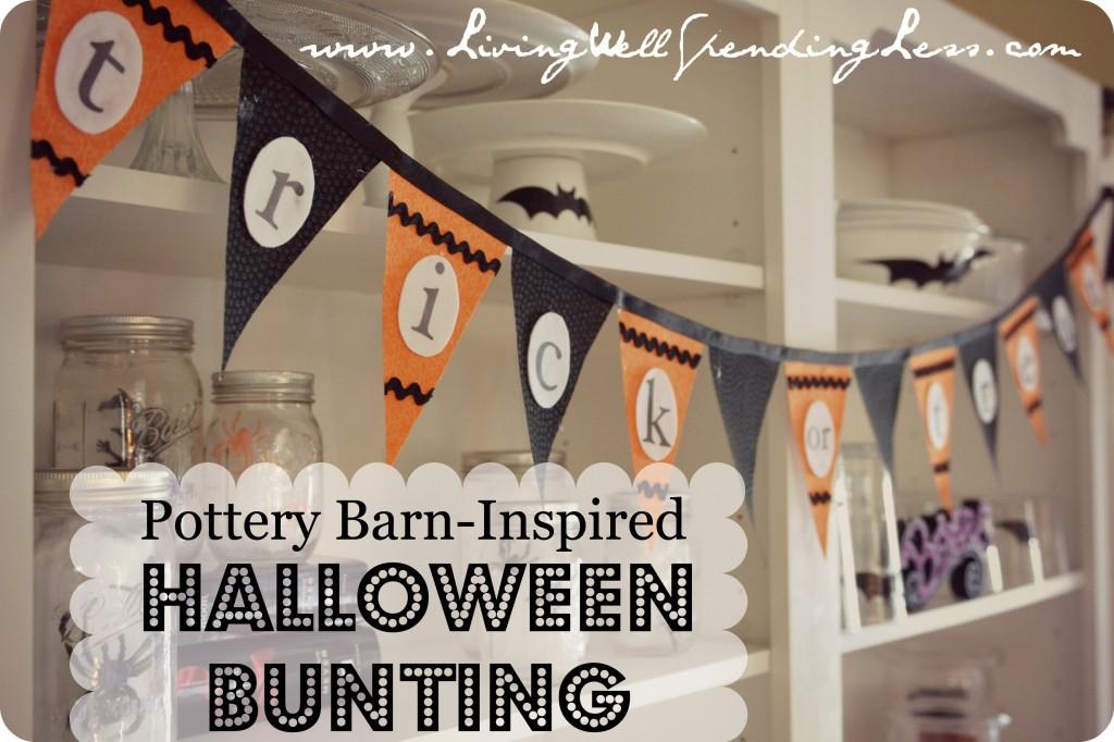 "Pottery Barn Inspired No-Sew Halloween Bunting   DIY Halloween Bunting   ""Trick-or-Treat"" Halloween Bunting   Free Pattern   Easy Halloween Bunting"