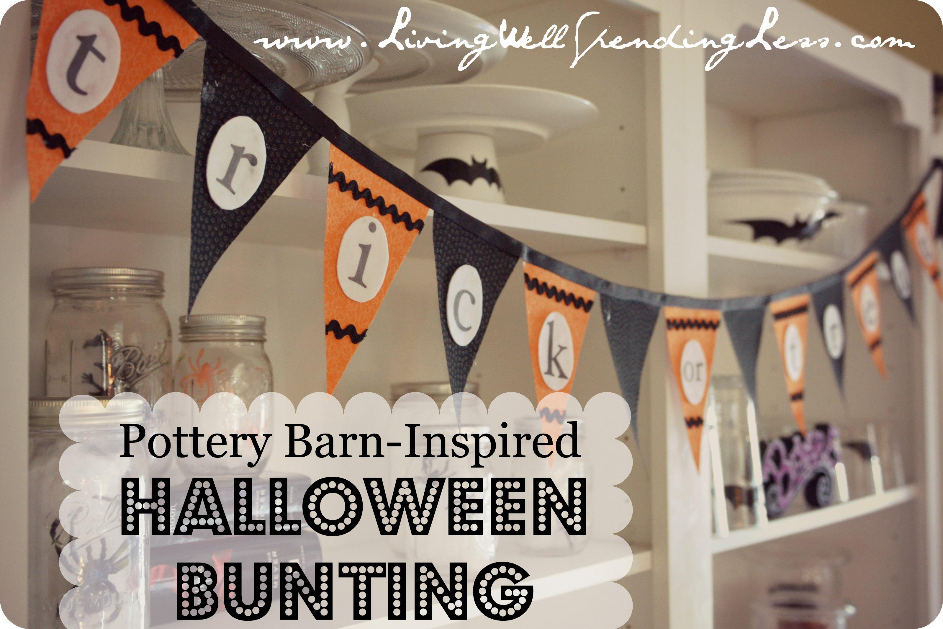 Halloween Bunting halloween bunting Pottery Barn Inspired No Sew Halloween Bunting
