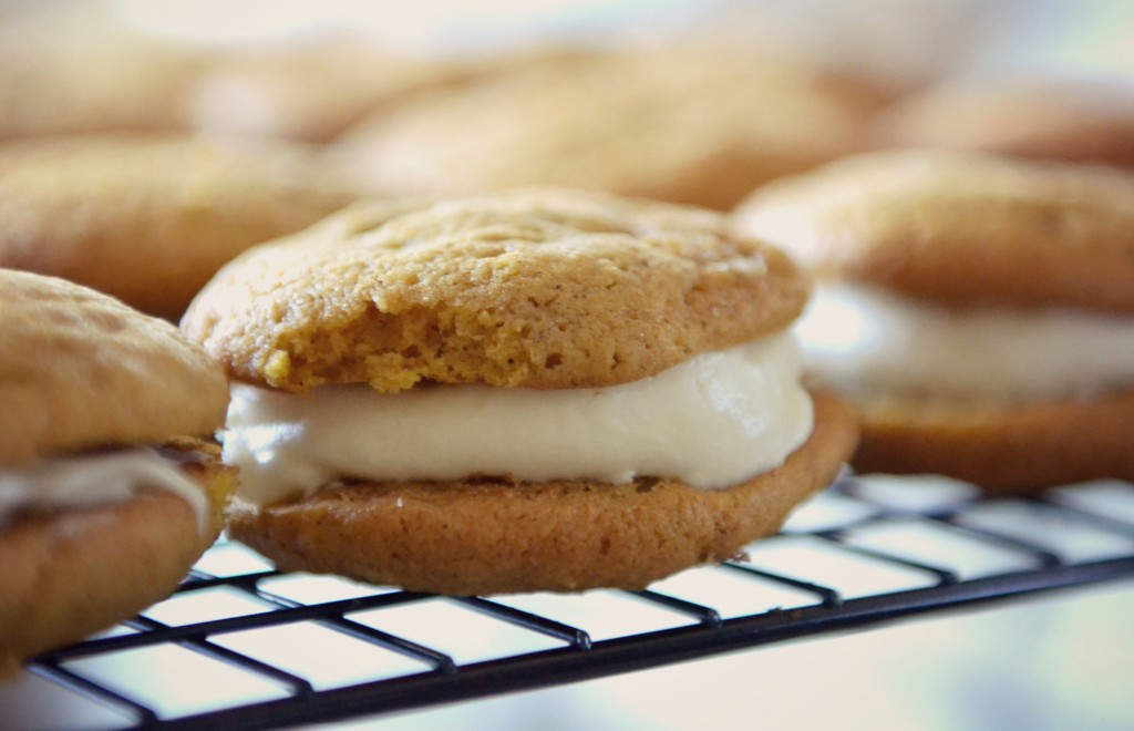 Pumpkin Sandwich Cookies with Maple Cream Cheese Icing | Autumn Bakes | Pumpkin & Maple Cream Cheese Sandwich Cookies | Pumpkin Spice Cookies | Maple Cream Cheese Icing