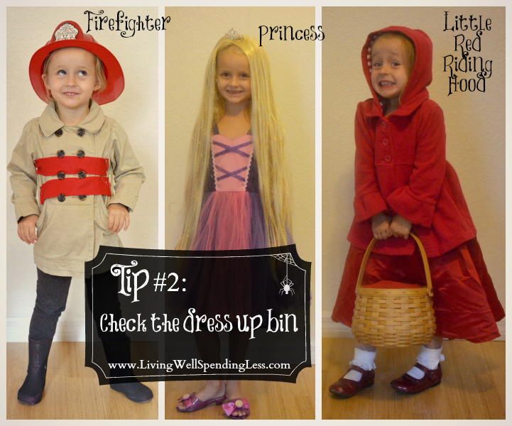 Check your child's dress up bin for Halloween costumer materials.
