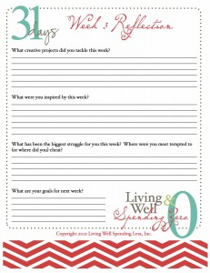 Reflection | 31 Days of Living Well & Spending Zero | Spiritual Life | Free PRintable Reflection Sheet