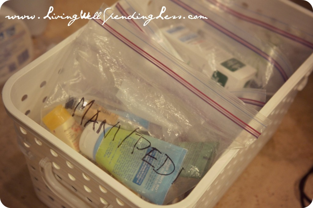 Using plastic bags and labeling items is a smart way to organize your bathroom.