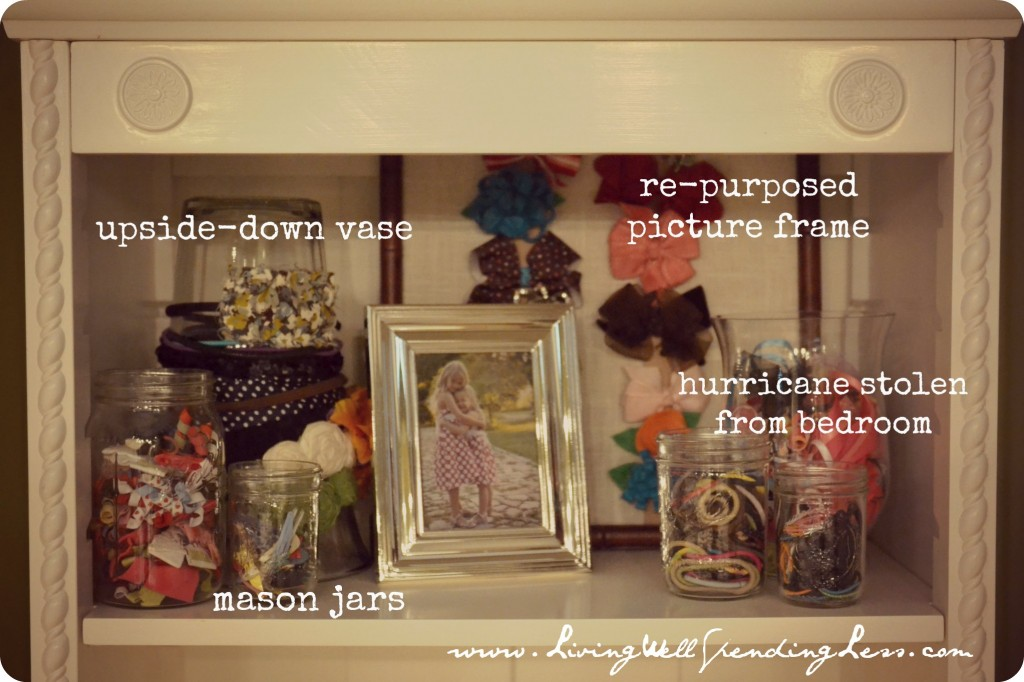 Use various mason jars to organize your daughter's hair accessories.