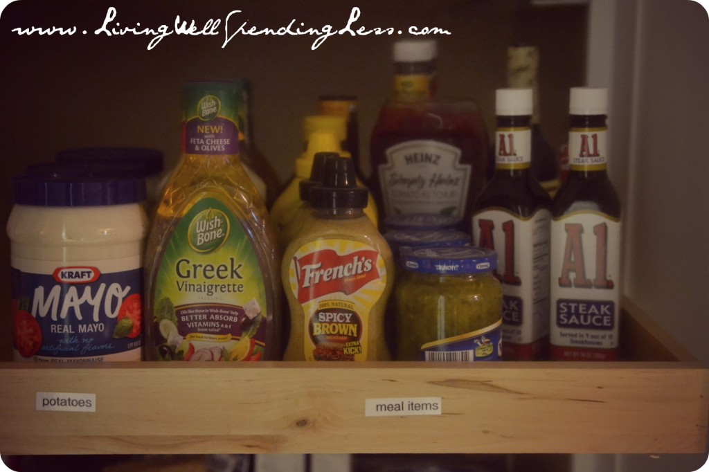 Lots of condiments in our pantry during our 31 days of spending zero!