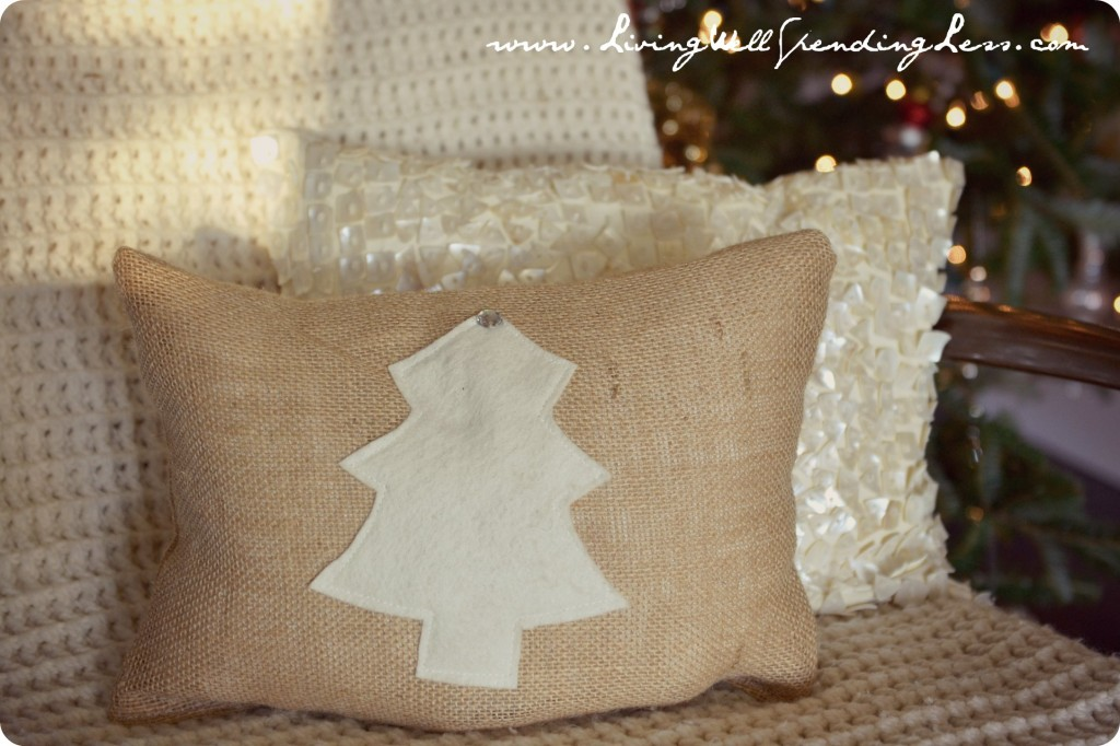These easy DIY burlap pillows can also be made with Christmas trees for the holiday season.
