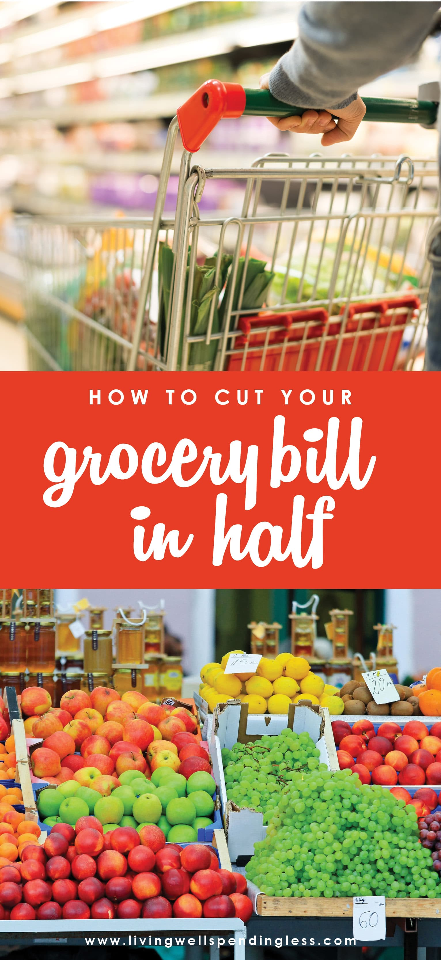 Want to know the secrets to saving big on food? (Spoiler--It's not always using coupons!) These 5 simple strategies can save you hundreds each month on the food your family already buys.   How to Cut Your Grocery Bill in Half | Save Money on Groceries | Money Saving Tips | Spend Less on Groceries
