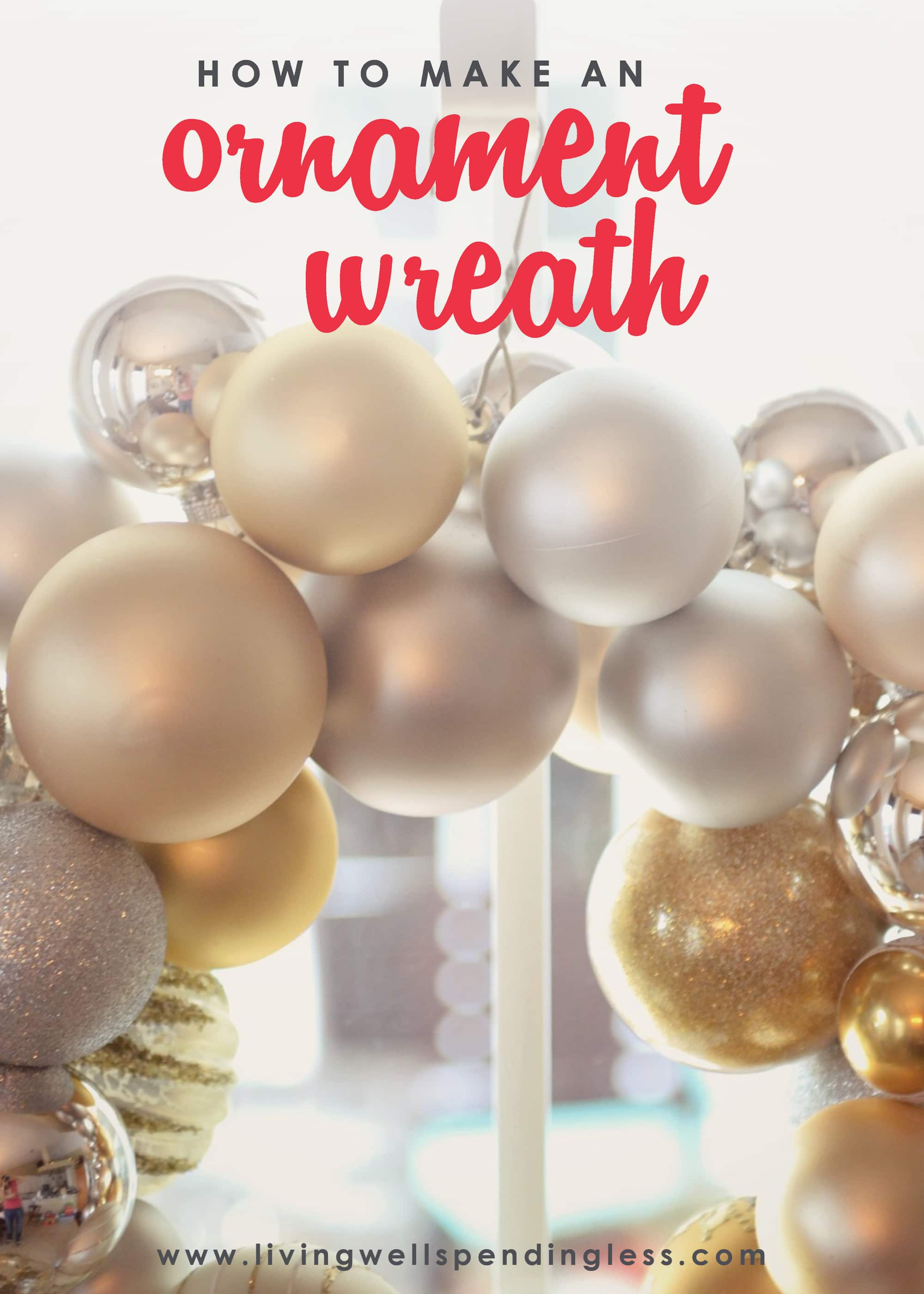 Looking for a fun decor project this Christmas? This DIY ornament wreath is festive and easy to make with wire hangers, pliers, ribbon and spare ornaments!