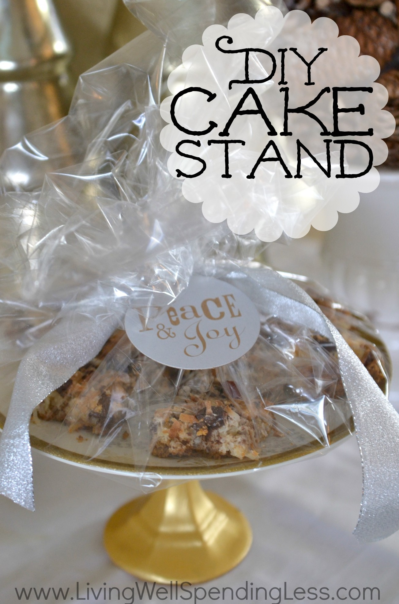 Super simple craft project using an inexpensive decorative for Plate cake stand diy