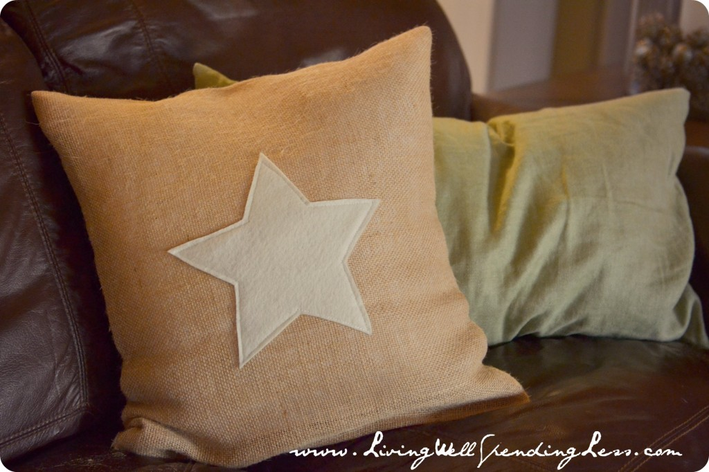 Display your finished star burlap pillow on your living room couch.