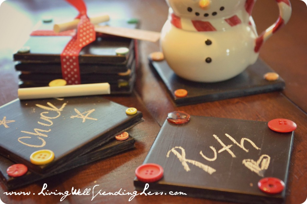 Diy chalkboard coaster set living well spending less for Christmas place setting gift ideas