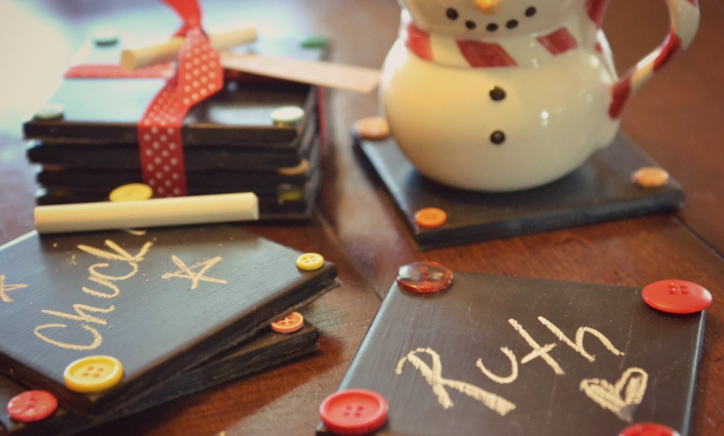 You can write or draw on these DIY chalkboard coasters, which make perfect gifts! Remember to include some chalk pieces when you gift!