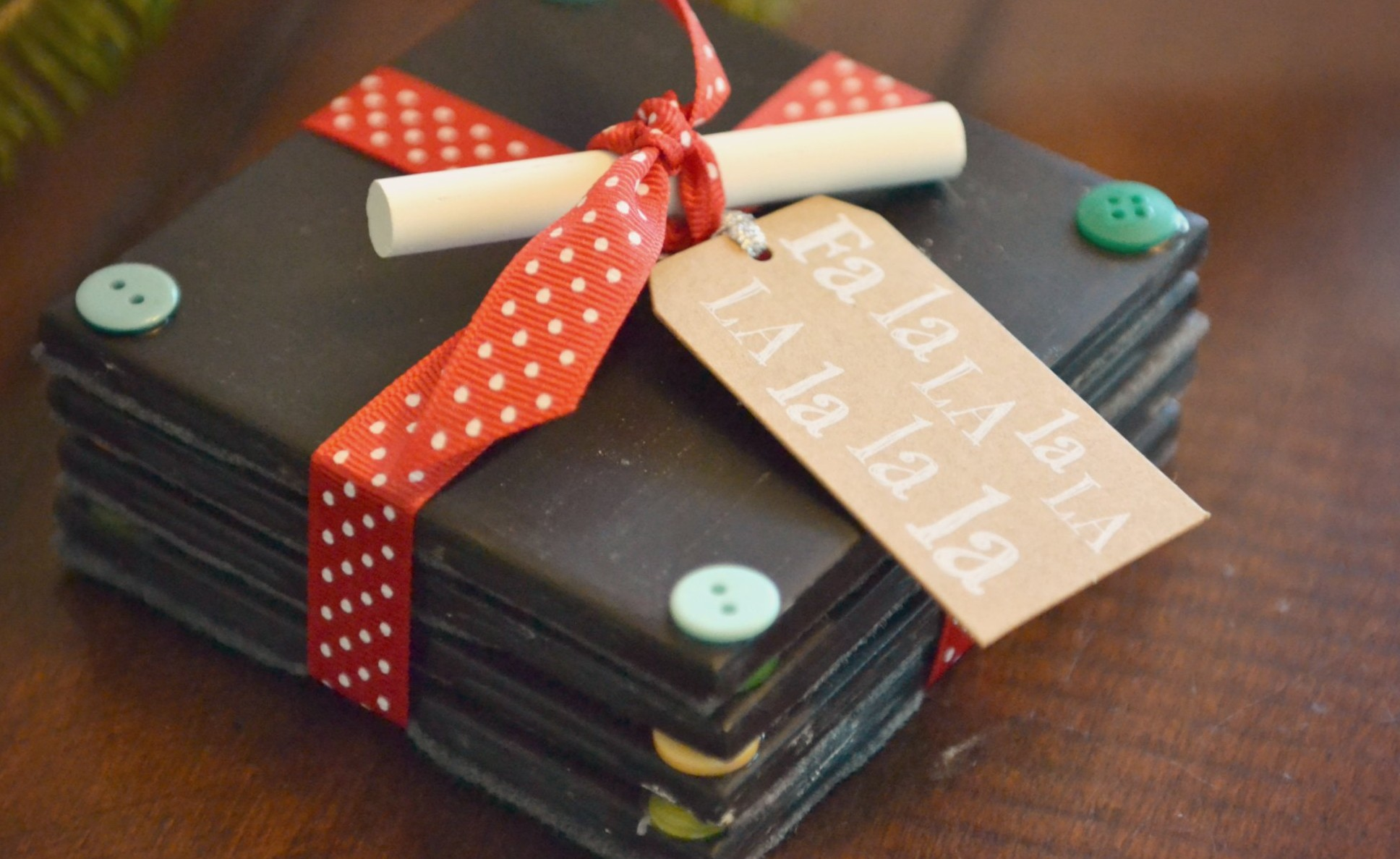 Diy chalkboard coaster set tutorial handmade gift idea Homemade christmas gifts