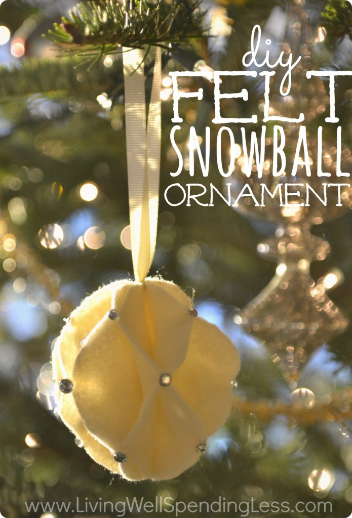 Diy felt snowball ornament living well spending less for Decorate your own christmas decorations
