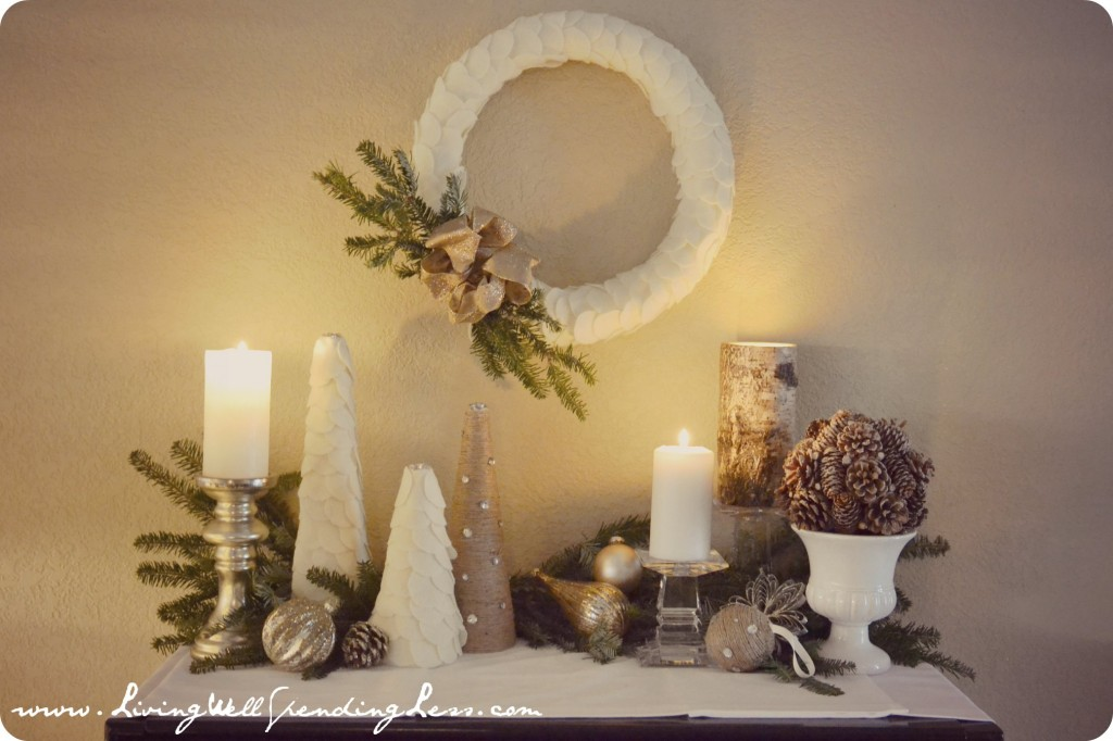 Holiday decorations and candles