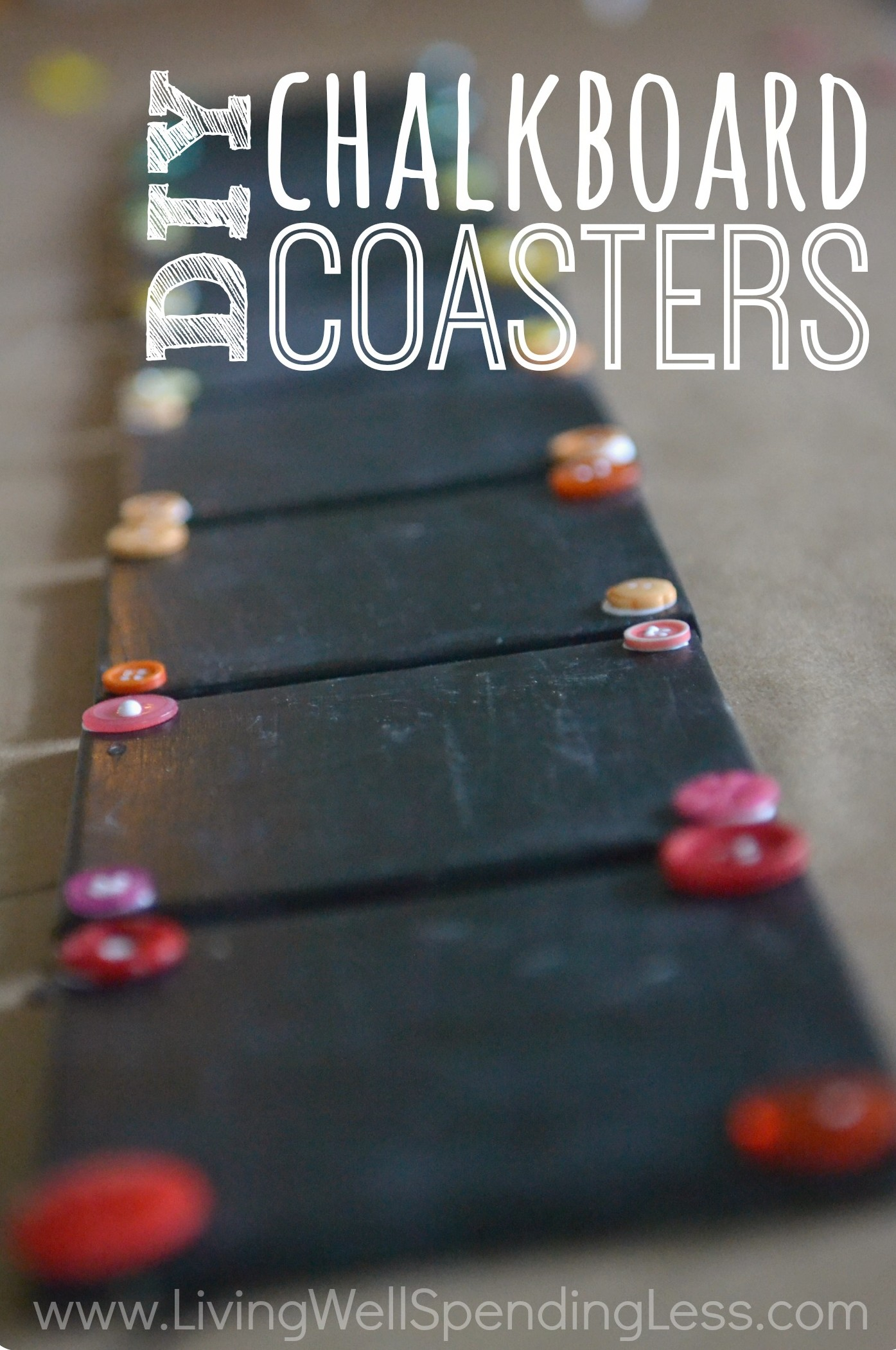 Great tutorial for making handmade chalkboard coasters out of ...
