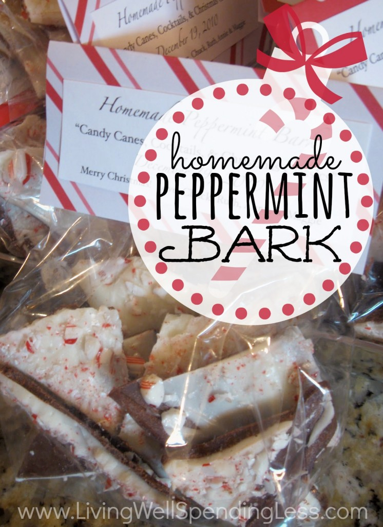 Looking for a sweet holiday treat to give that won't take all day  You won't believe how easy it is to make this homemade Peppermint Bark!  The perfect gift when you are short on cash and time!