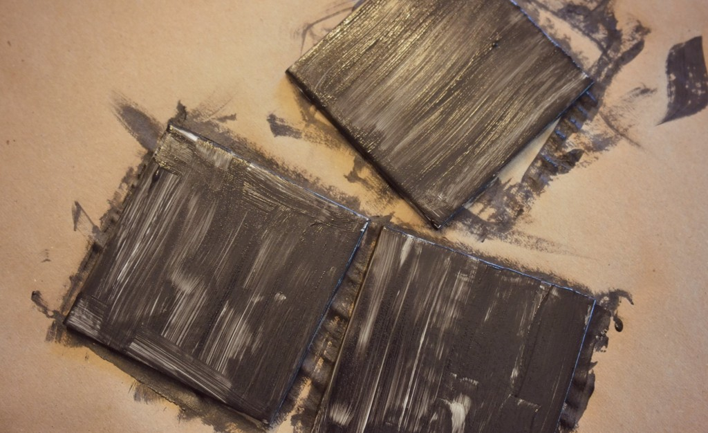 DIY Chalkboard Coaster Set | The kids can help by painting the tile squares. Don't worry, it doesn't have to look perfect on the first try.
