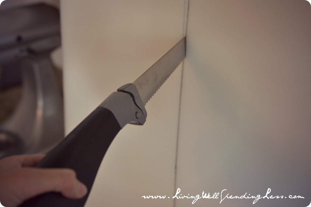 It's easiest to cut foam using a serrated knife and following a drawn line.