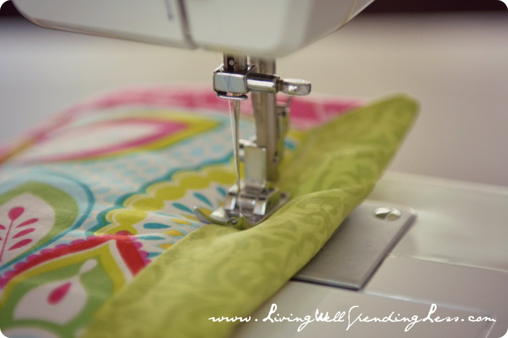Sew up the edges of the fabric to form your comforter for the doll bed.