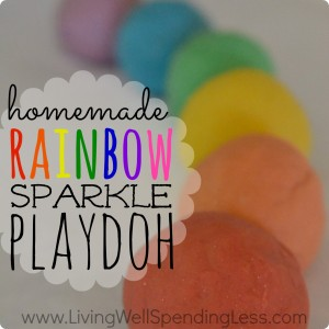 Homemade Rainbow Sparkle Playdoh | DIY Rainbow Sparkle Playdoh | Glitter Rainbow Playdough Recipe | Rainbow Sparkle Playdough