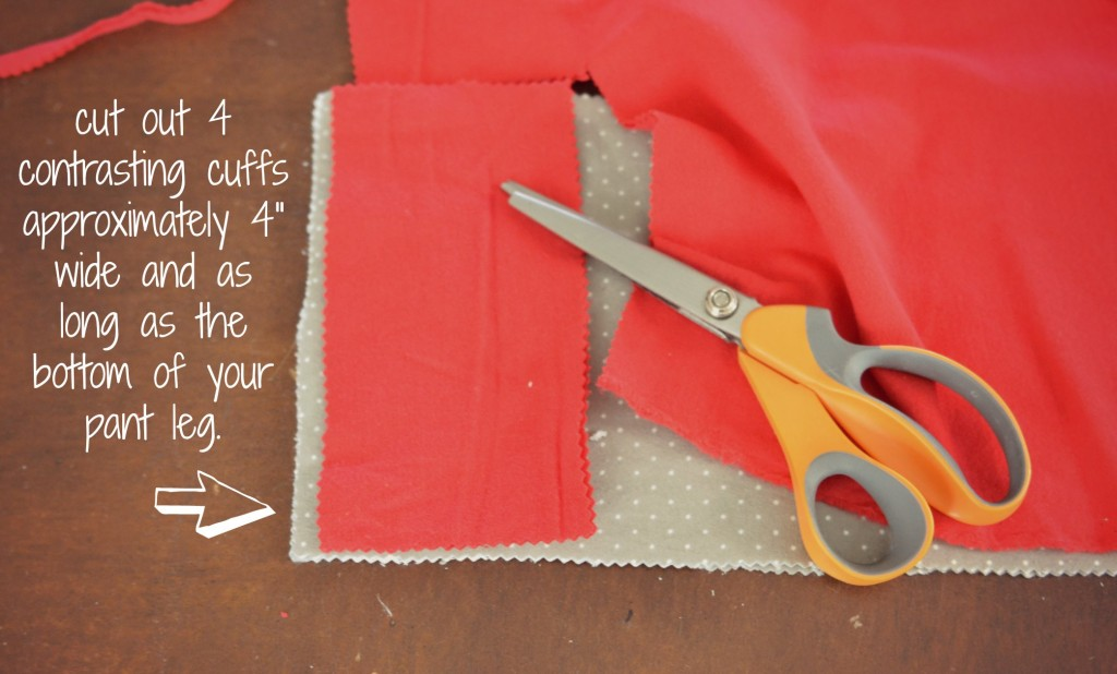 Cut bright rectangles out of contrasting fabric to create cuffs for your easy-to-sew pajama pants.