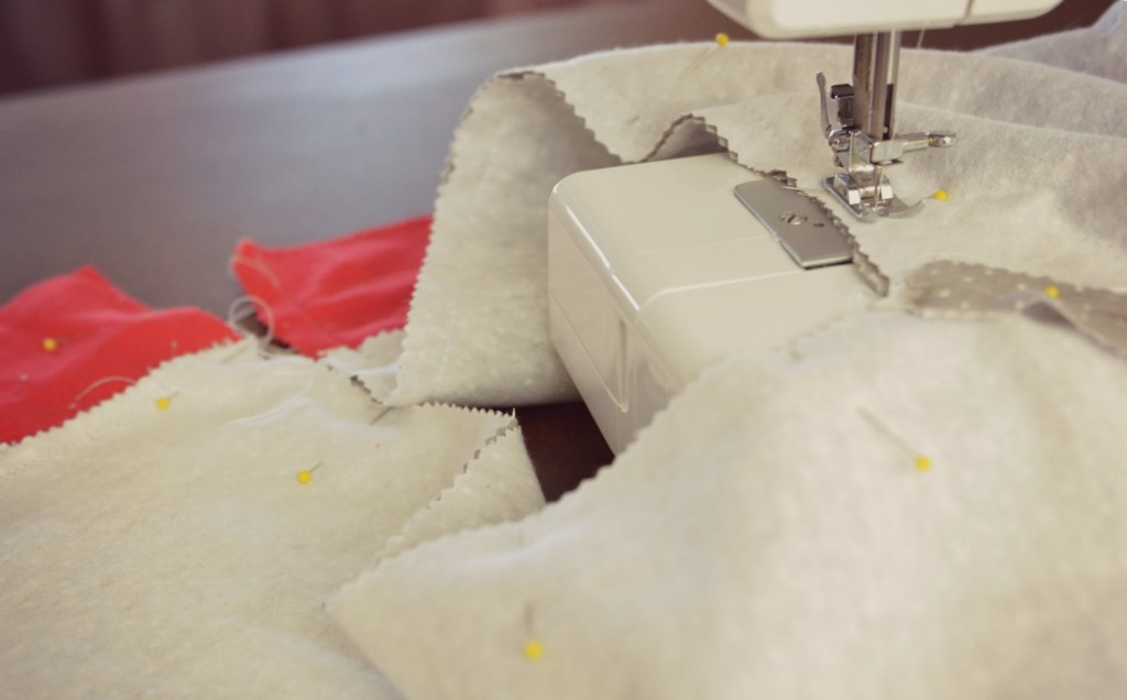 Use your sewing machine to stitch the easy-to-sew pajama pants together.