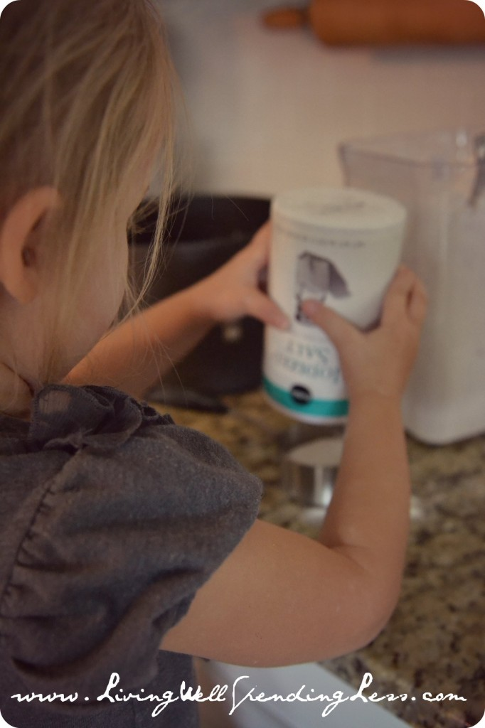 This project is perfect for kids to help with! They can help measure ingredients like the salt and flour.
