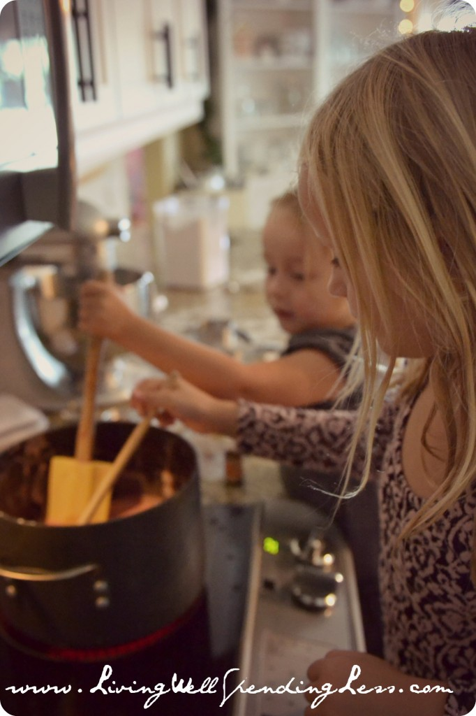 The kids can help stir the mixture while it cooks but make sure to watch them closely and be careful!