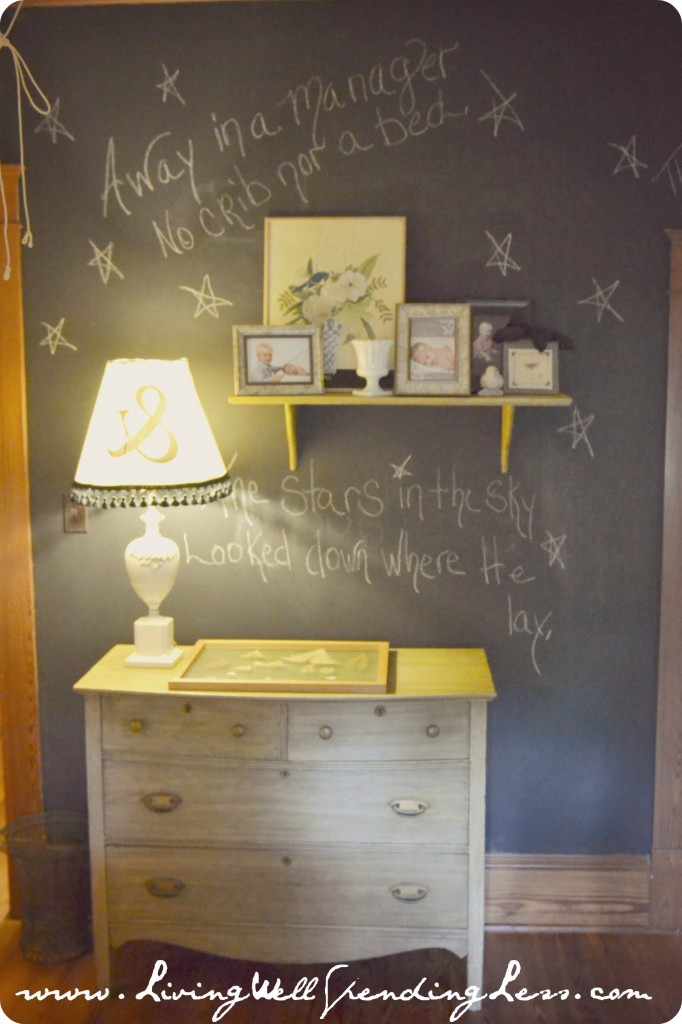 This chalkboard wall against the vintage furniture is adorable.