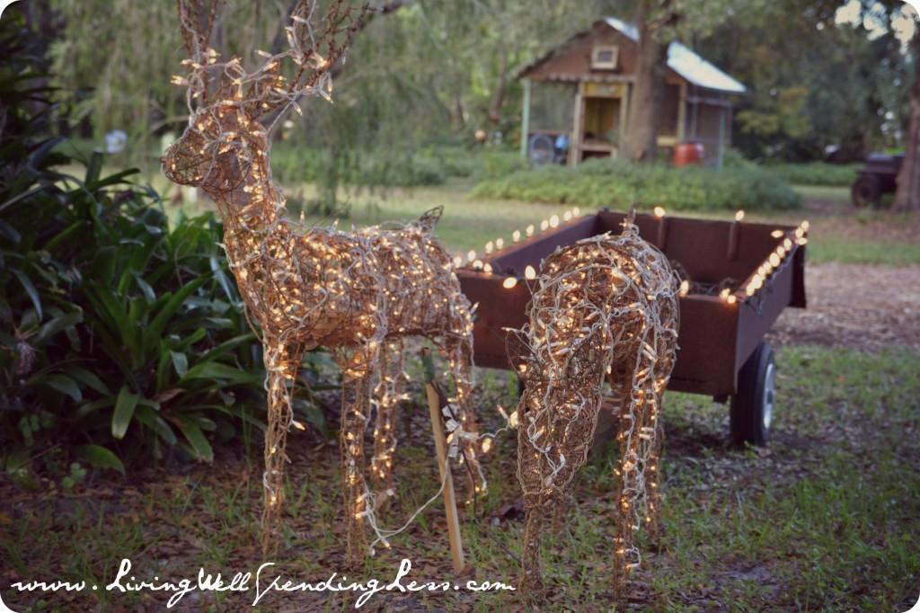 The Christmas reindeer light up the backyard.