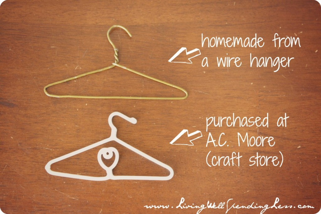 Two types of doll hangers for clothes.