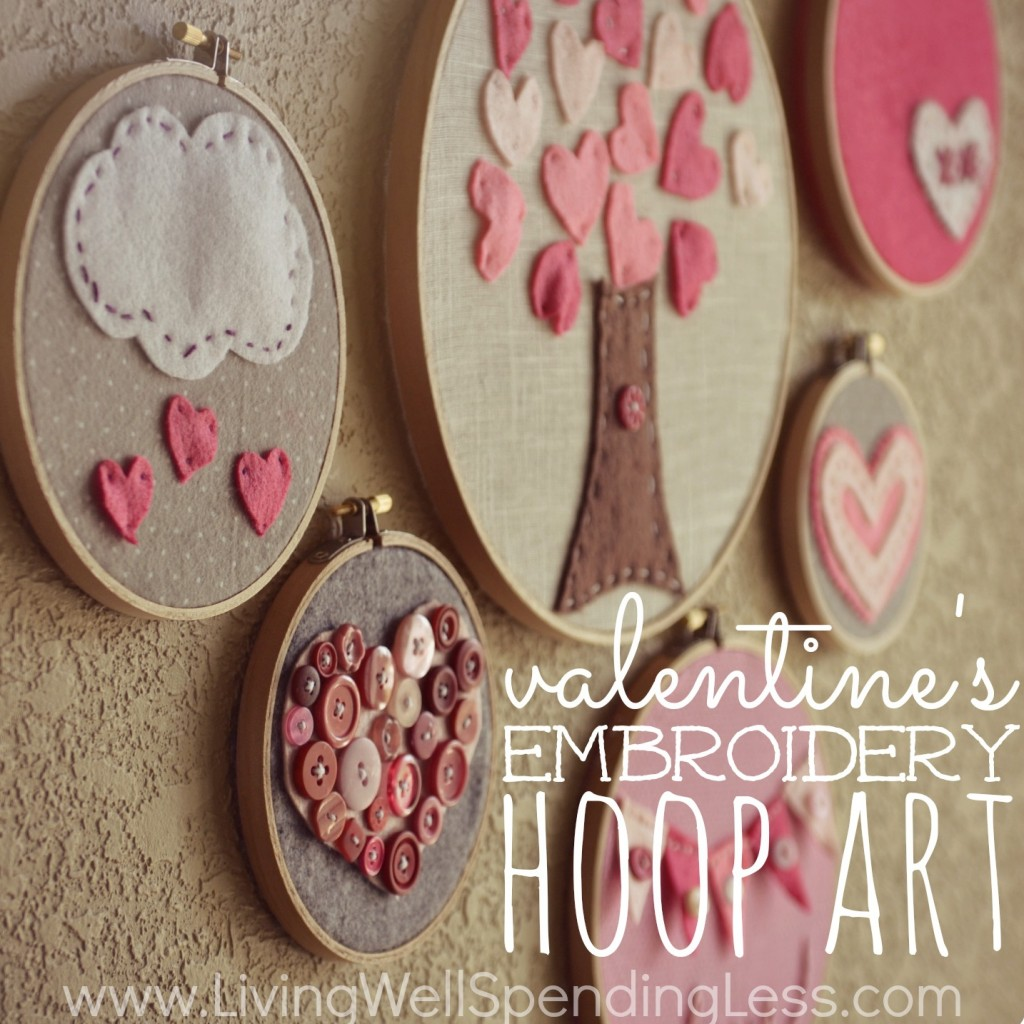 Diy Valentine S Day Embroidery Hoop Art Living Well Spending Less
