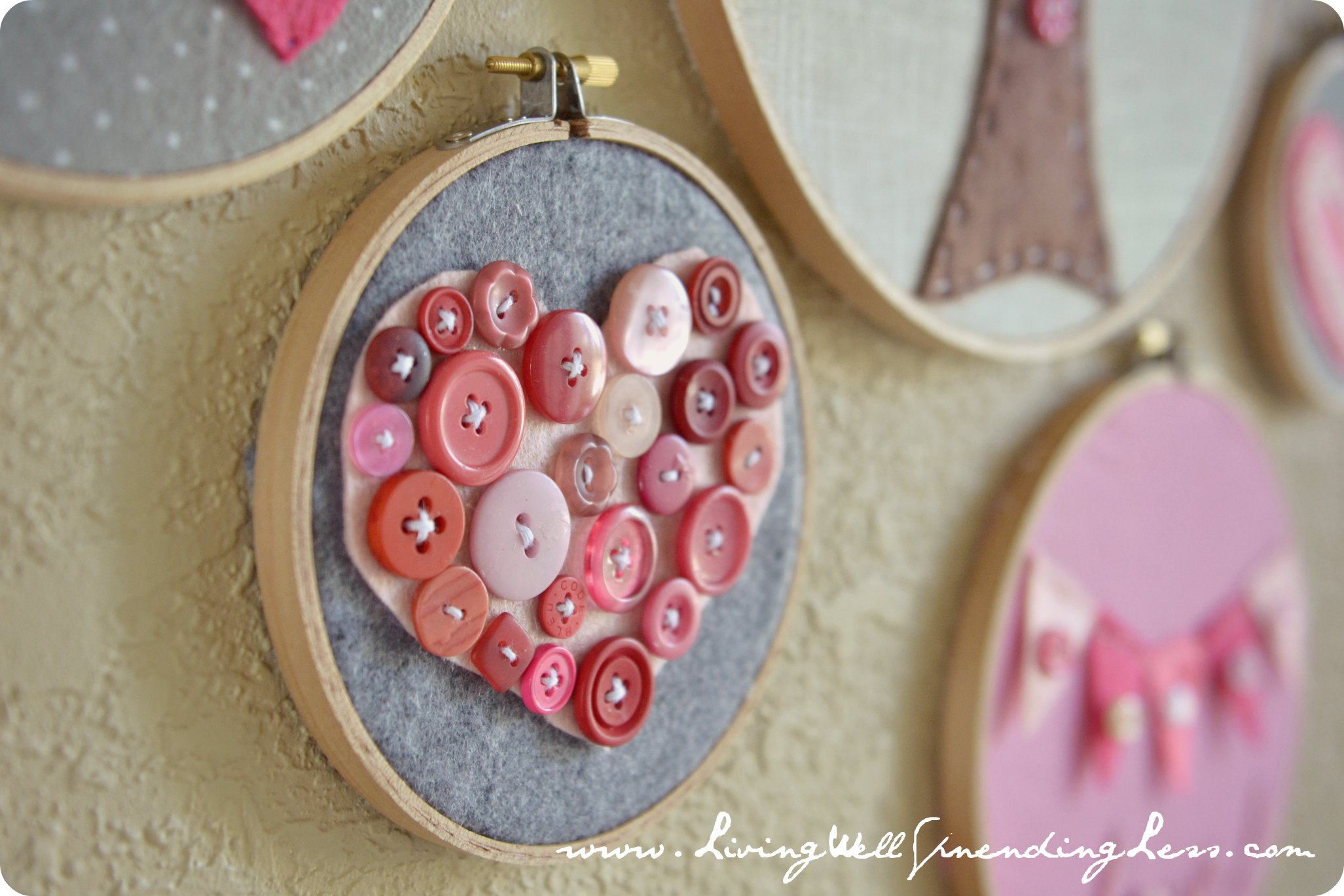 Valentine 39 s day button heart embroidery hoop art cute and for Easy heart crafts