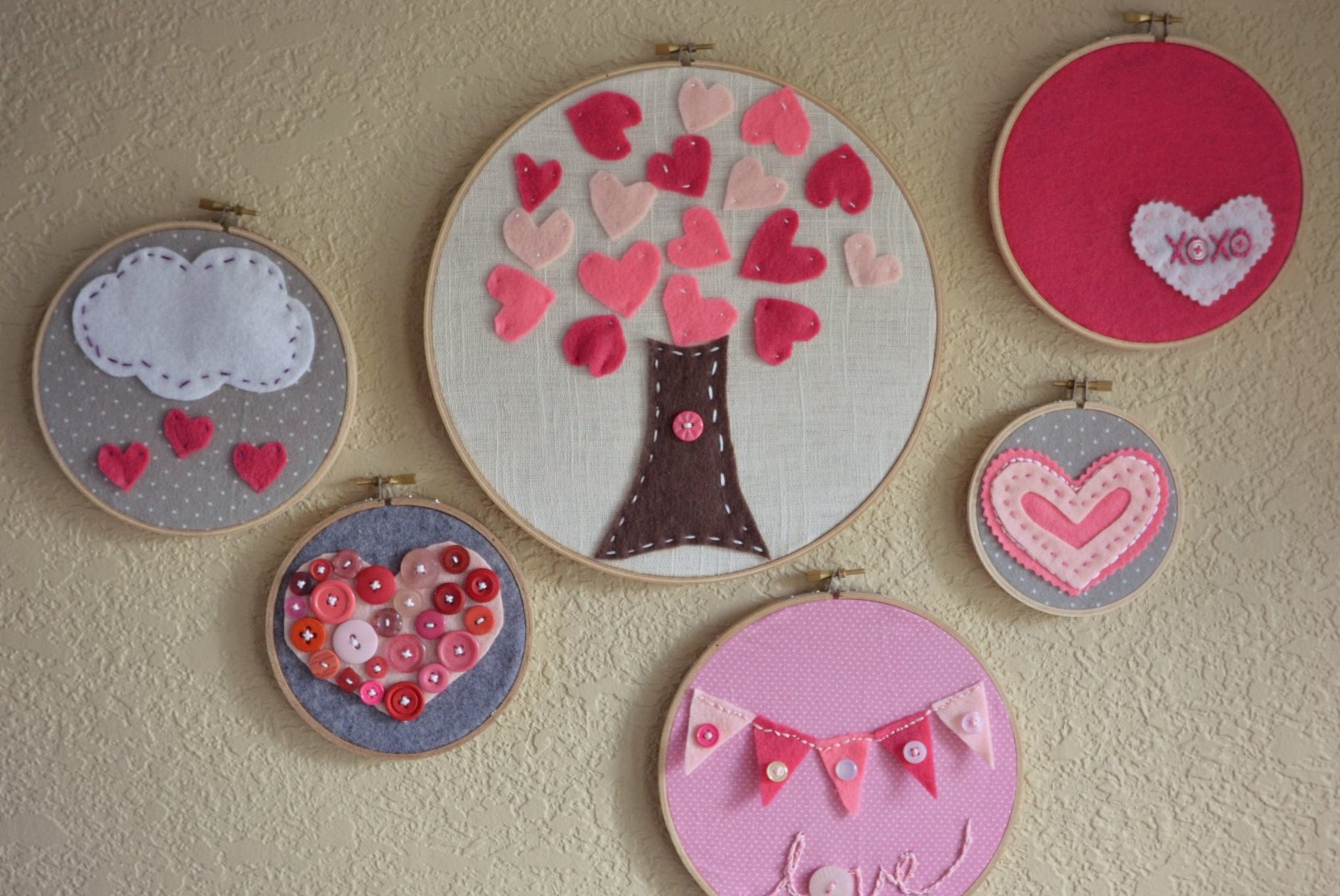 Valentine39s Day embroidery hoop art so cute