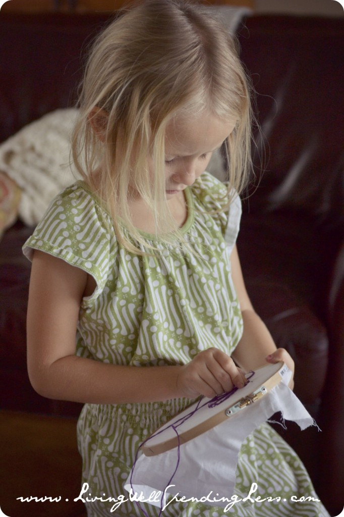 Fun craft projects like needlepoint can be great homeschooling activities.