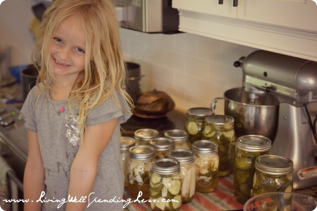 Learning to pickle vegetables is a great homeschooling activity kids enjoy.