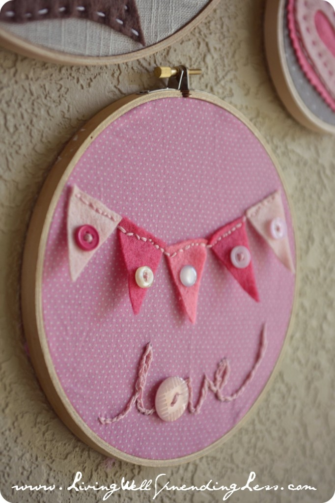 bunting embroidery hoop art