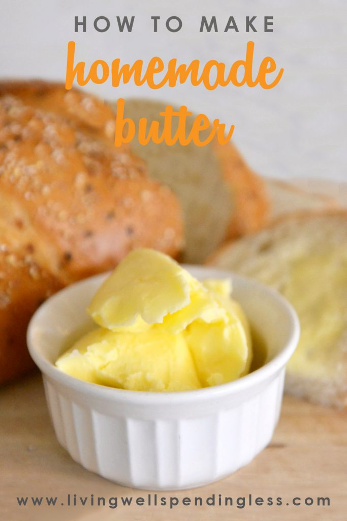 Did you know you can make your own homemade butter in a KitchenAid mixer or food processor?!! It is fun & easy and tastes SO much better than the store bought stuff! How to Make Homemade Butter | DIY Butter | Homemade Butter Recipe | How to Make Butter | Butter