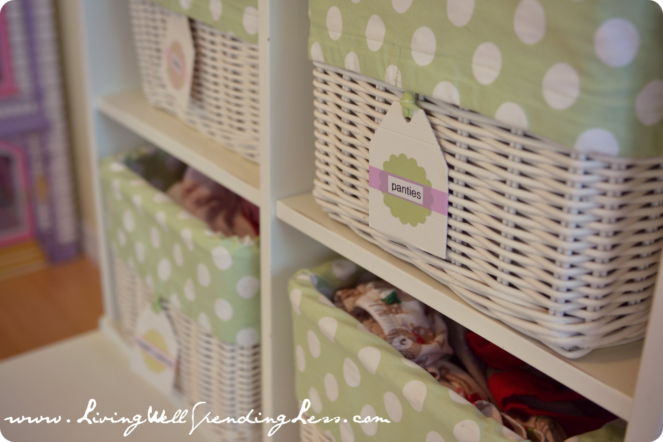 Clothing baskets with cute labels how i get my kids to for Baskets for kids room