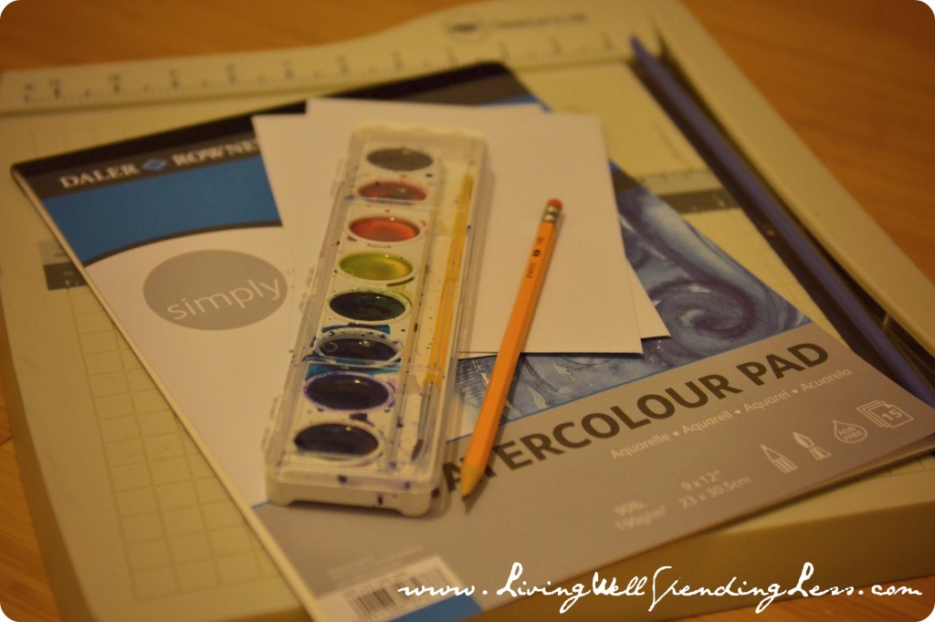 You just need a few simple items to create DIY watercolor thank you cards!