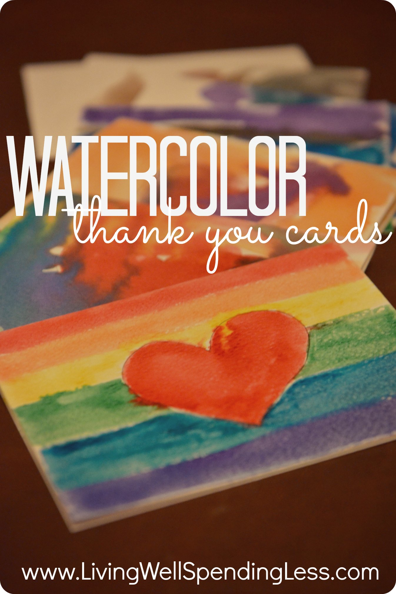 Diy watercolor thank you cards living well spending less for Easy diy arts and crafts