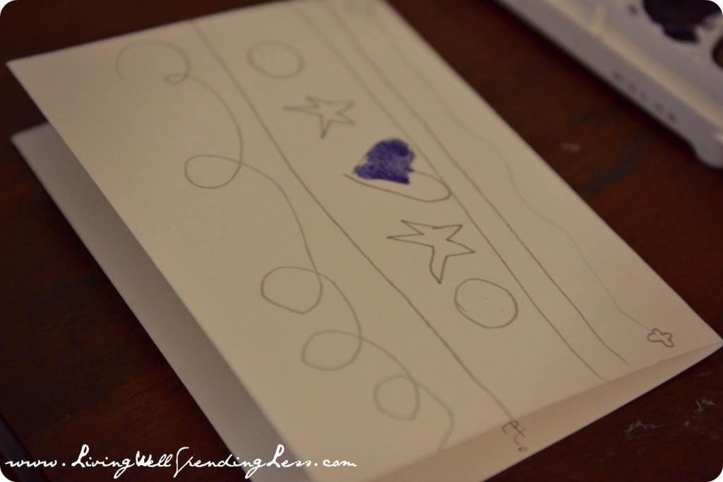 Another option is to draw a design before you paint the DIY watercolor thank you cards.