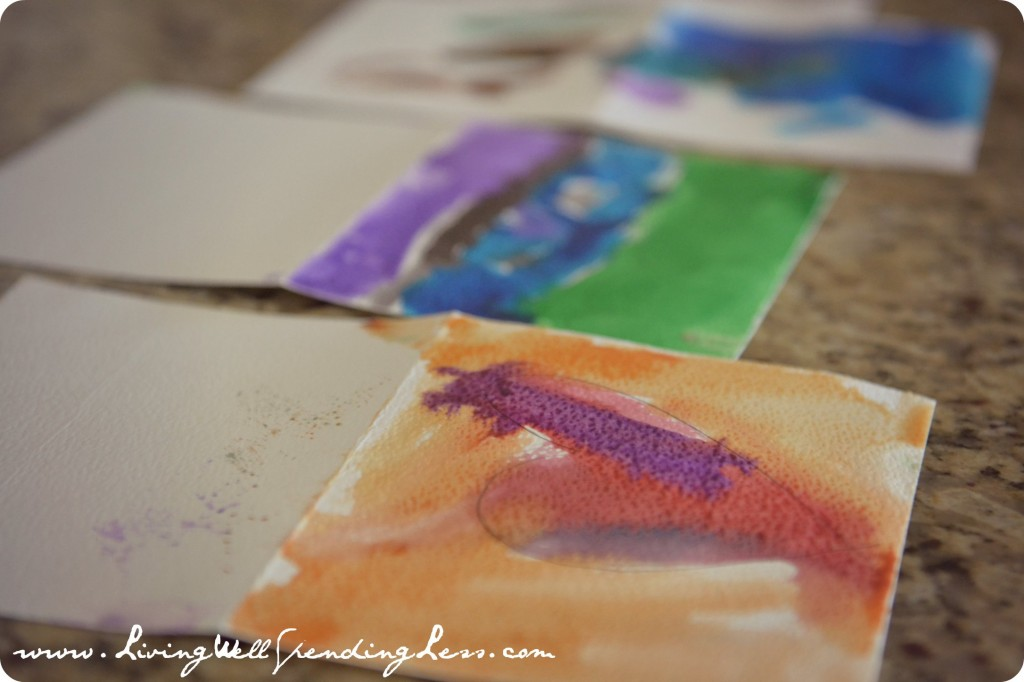 Allow your DIY watercolor thank you cards to fully dry.