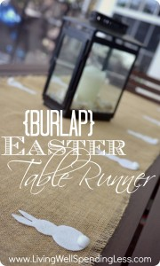 Burlap Easter Table Runner with felt bunnies--so cute & simple (no-sew project!)