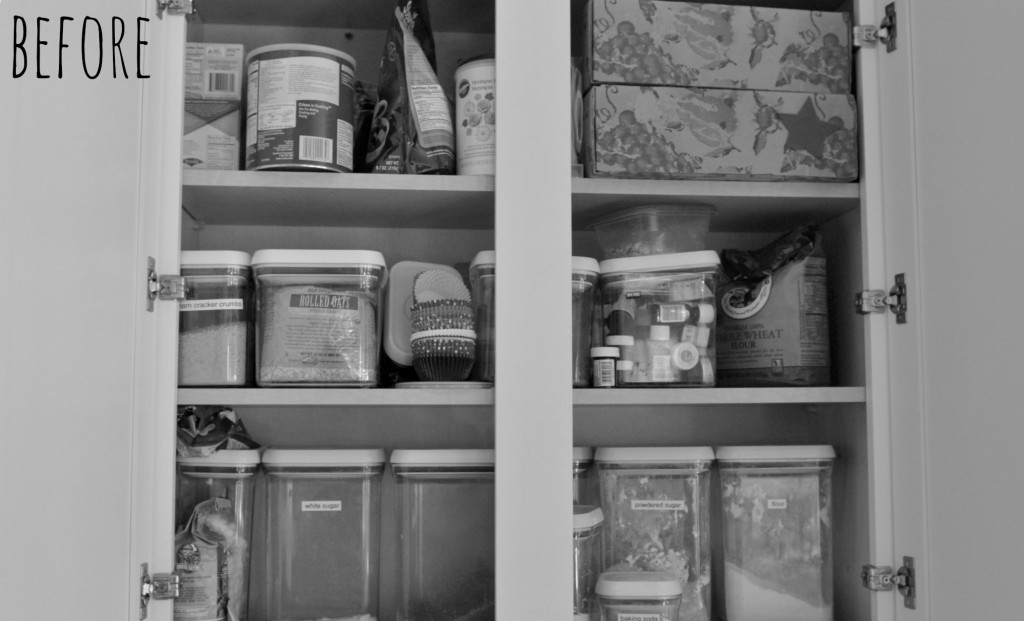 This is what our pantry looked like before we went through this easy kitchen organizing plan.