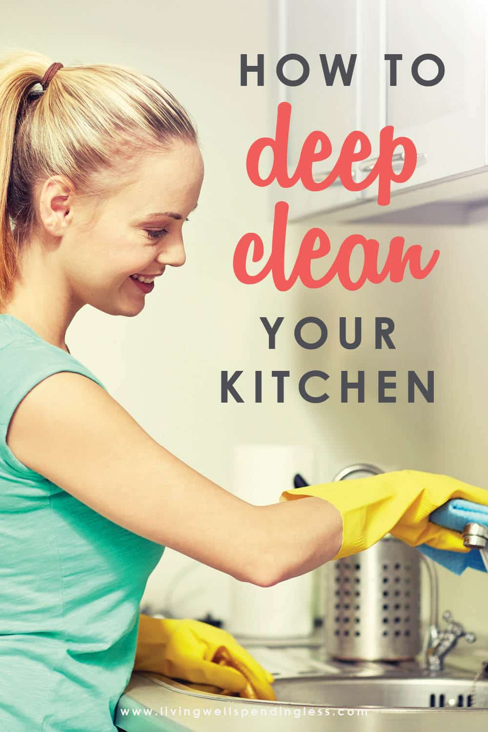 Here's how to deep clean your kitchen from top to bottom. Don't miss this step-by-step guide to get a kitchen that's sparkling clean and ready to enjoy. #deepcleankitchen #cleaning #springcleaning #kitchen