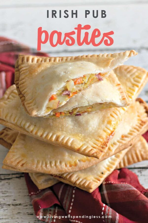 These Irish Pub Pasties are the perfect treat for St. Patrick's Day. They are delicious and an easy-to-make recipe, that is for sure gonna be a crowd pleaser! The best part is they are completely customizable so they can be made with meat, vegan, or vegetarian. #stpatricksday #holidaymeals #easydinner #foodmadesimple #holidayrecipes #stpatricksdayrecipes #irishrecipes #vegetarianrecipes #veganrecipes