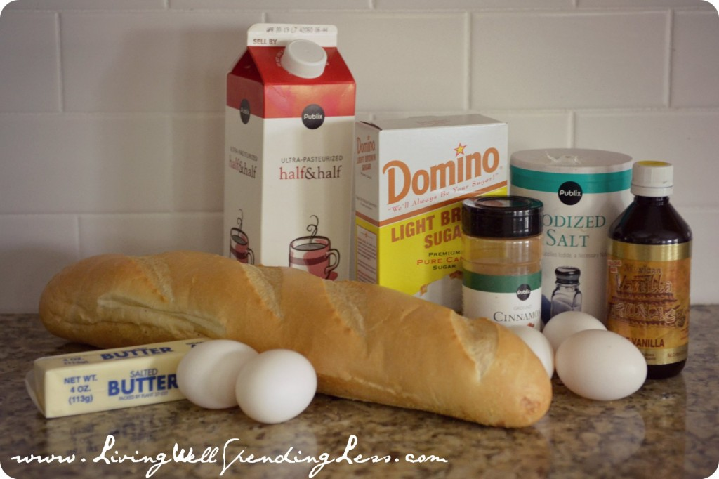 Assemble your ingredients: Day-old french bread, butter, eggs, half & half, brown sugar, cinnamon, salt, nutmeg and vanilla.