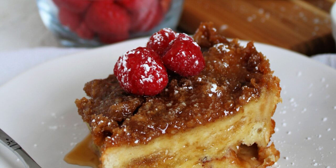 Overnight French Toast with Warm Maple Butter Syrup