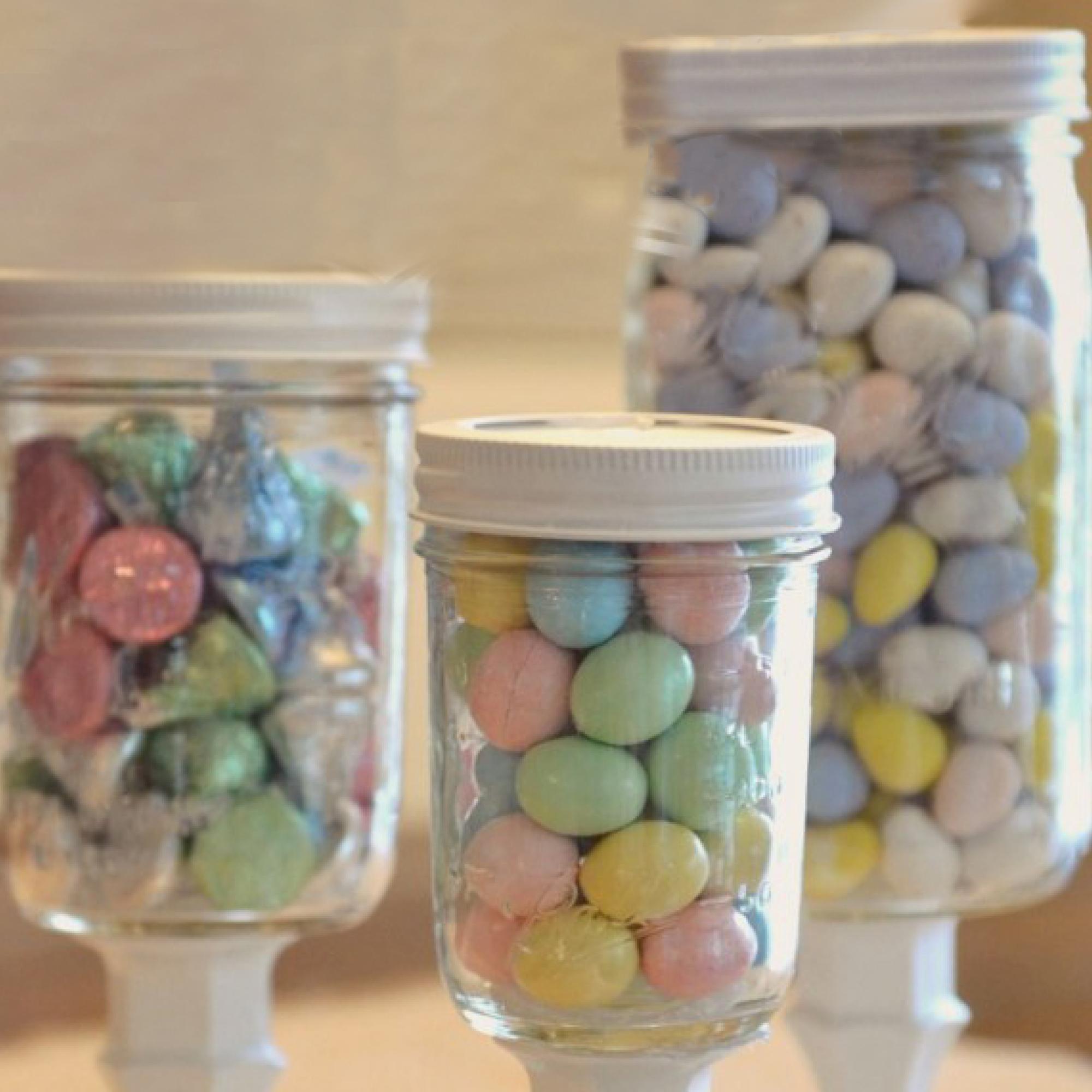 Diy Mason Jar Candy Pedestals Easy Pastel Party Decorations